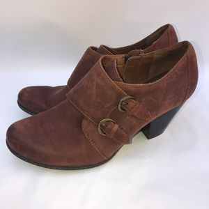 B.O.C. Brown Double Buckle Ankle Bootie